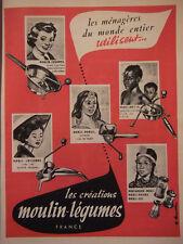 PUBLICITÉ DE PRESSE 1952 LES CRÉATIONS MOULIN-LÉGUMES - ADVERTISING
