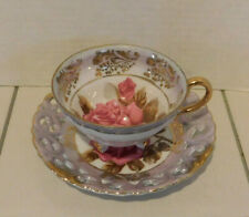 Antique Royal Sealy China Japan Tea Cup & Saucer Rose Floral w / Gold Trim