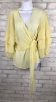Sunny Wrap Top Yellow Gingham Bubble Sleeve Tie Front Chiffon Semi Sheer Large
