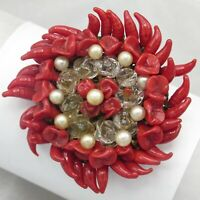 Vtg French Pate de Verre Poured Art Glass Red Flower Large Brooch Pin
