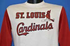 vintage 80s ST LOUIS CARDINALS WHITE RED 3/4 SLEEVE t-shirt BASEBALL MEDIUM M