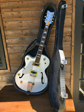 Vintage Electric LEFT HAND Arch Top White Hollow Body Semi Acoustic Jazz Guitar