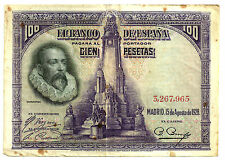 BILLETE DE 100 PESETAS DE 1928 (BC) CERVANTES (SIN SERIE)