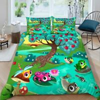 Green Frog Change 3D Printing Duvet Quilt Doona Covers Pillow Case Bedding Sets