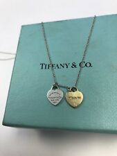 Tiffany & Co. Double Heart Necklace 925 & 18k Or 750 Yellow Gold