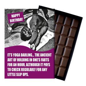 Novelty Chocolate Gifts Yoga Tai Chi Pilates Women Funny Greeting Birthday Card