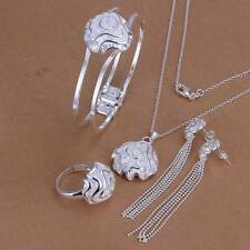 Hot 925 Silver plated Rose Bracelet Earrings Rings Necklace Jewelry Sets S269