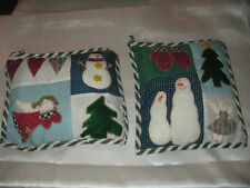 4 Pc Lot Quilted Pillow Snowmen Angel Hearts Christmas Tree Ornaments Decor New