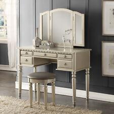 Tri Folding Mirror Vanity Set Makeup Table Dresser w/ Bench 5 Drawer Silver Wood