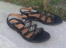 Earthies Bello Beaded Flats Strappy Sandals Shoes sz 7.5 B BLACK