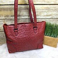 Via Spiga Burgundy Red Ostrich Genuine Leather Purse Shoulder Bag Tote