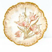 Limoges Plate AL France Pink Green Floral Gold Porcelain Hand Painted Fluted