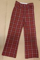 70's Vintage Boys Red Plaid Pants Clothing Jeans Fashion Sears Perma Press Mod