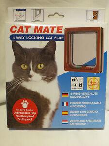 Cat Mate 4 Way Locking Cat Flap 309B - Brown