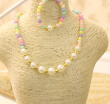 NEW Female baby round Bead fashion Child pearl bracelet necklace set jewelry