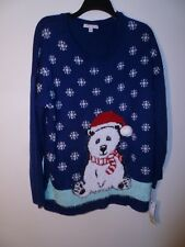Notations Ladies Xmas Pullover Sweater Blue XL NWT MSRP $64