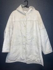 Liz Clairborne Button Up Hoodie Trench Coat Faux Leather Women's Size L Beige