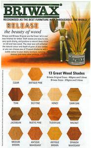 5l Briwax Original auf Toluol-Basis verschiedene Farben antikbraun mediumbraun