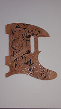 """Leather pick guard Fender Telecaster hand tooled leather """"Floral Riffs"""""""