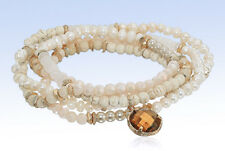 PANACEA Multi-Row Howlite Pearl & Quartz Beaded Stretch Bracelet