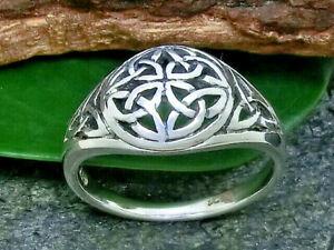 Keltischer Knoten 925 Sterling Silber Ring Triskele Triquetra Keltik