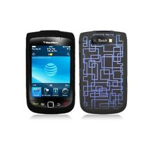 Black Snap-On Hard Case Cover with Blue Lines for Blackberry Torch 9800/9810