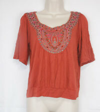 American Rag Cie Orange Women's Embroidered Peasant Short Sleeve Blouse Shirt