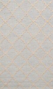 Light Blue Trellis Oriental Area Rug Hand-Tufted Wool Contemporary 5x8 ft Carpet