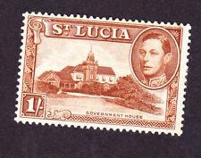 St Lucia GVI 1938 1/-, perf 13.5 mm, fine.sg135