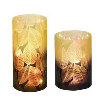 Fall Leaves LED Glass Ombre Vases Set of 2 Home Decor Accent New