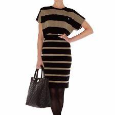 Karen Millen Black Khaki Block Wool Stripe Knit Sporty Bodycon Dress  KM-3 12-UK
