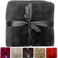 Fleece Blanket Double Coral Throws Satin Stripe Sofa Bed Large Luxury Soft Warm