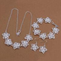 new silver Fashion women lady Flower Earring Necklace Bracelet Set jewelry 925