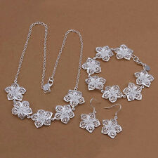 new silver Fashion women lady Flower Earring Necklace Bracelet Set jewelry 925