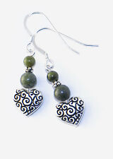 Connemara marble celtic spiral heart earrings. Irish made jewelry. Newgrange