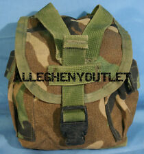 Military 1 QT MOLLE Woodland Camo CANTEEN COVER Carrier Utility Dump Pouch GC