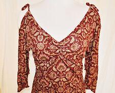 Vtg 90s Sheer Ruched V Neck Peekaboo Cold Bare Shoulder Shirt Blouse Top sz M