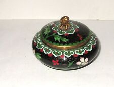 Small Chinese Cloisonne Black Enamel Foo Dog Bowl Jar Box