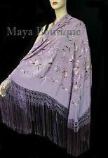 """Flamenco Embroidered Silk Piano Shawl Wrap Lilac Multi Flower & Birds 84"""" Maya"""