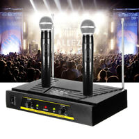 NEW Professional Wireless Microphone Dual Channel VHF 2 Handheld Mic System Set