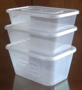 252 x MICROWAVE CLEAR PLASTIC FOOD CONTAINER & SNAP ON LIDS 650ML PINKAPPLE
