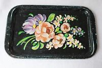 Shabby Cottage Vintage Floral Tray Black Metal Chippy Toleware Distressed