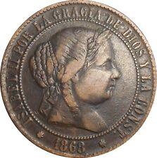 Spain Espagne 2-1/2 Centimos 1868 KM#634.5 Isabel II (4059)