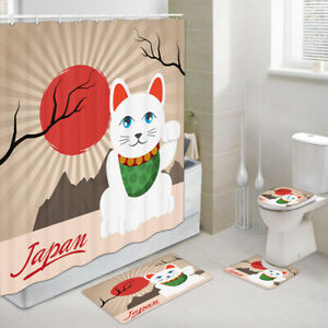 Japanese Lucky Cat Shower Curtains with Rug Set, Bath Rug & Toilet Mat 4PCS