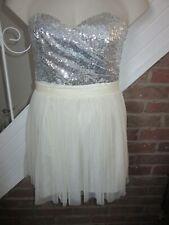 BNWT £65 UK 12 Lipsy Dress Silver Cream Micro Sequin Prom Net Princess Straps