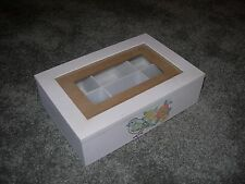 WHITE DECORATIVE WOODEN TRINKET BOX Bird and Flower ~ 6 Sections Glass Panel Lid