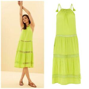 Ex M&S Lime Green Crinkle Strappy Tiered Beach Dress Size 18 20 22 24