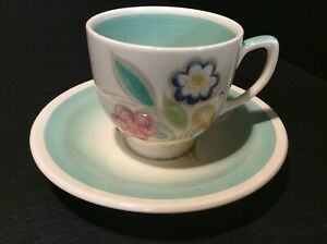 """SUSIE COOPER, A GOOD GREEN """"NOSEGAY"""" PATTERN KESTREL COFFEE CUP & SAUCER"""