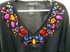 Vtg 80S M L Xl British Hong Kong Disco Lambswool Colorful Jewels Sweater Women