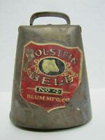 HOLSTEIN BELL No4 BLUM Mfg Co USA Antique Farm Cow Cattle Tin Old Gold Paint